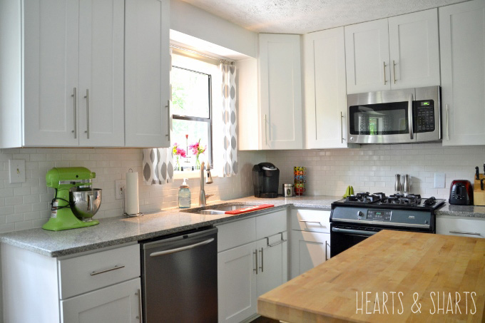 Kitchen reno before and after hearts sharts for Kitchen cabinets reno