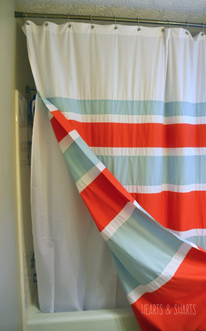 teal striped shower curtain. DIY Striped Shower Curtain with Grommets  Hearts Sharts www heartsandsharts com With
